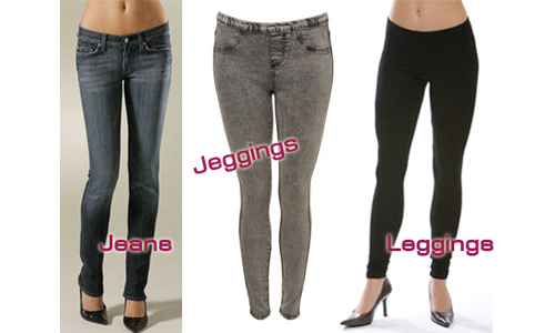 Difference between leggings and jeggings
