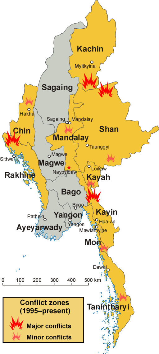 Conflict zones in Myanmar
