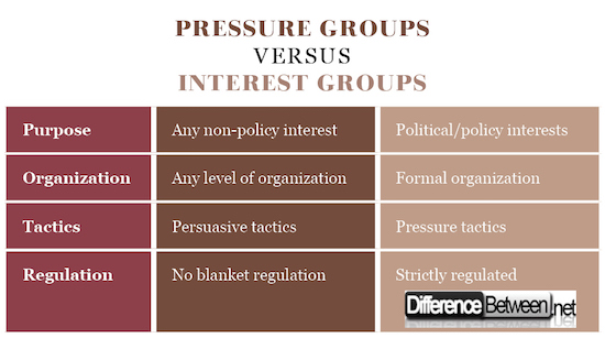Pressure Groups VERSUS Interest Groups