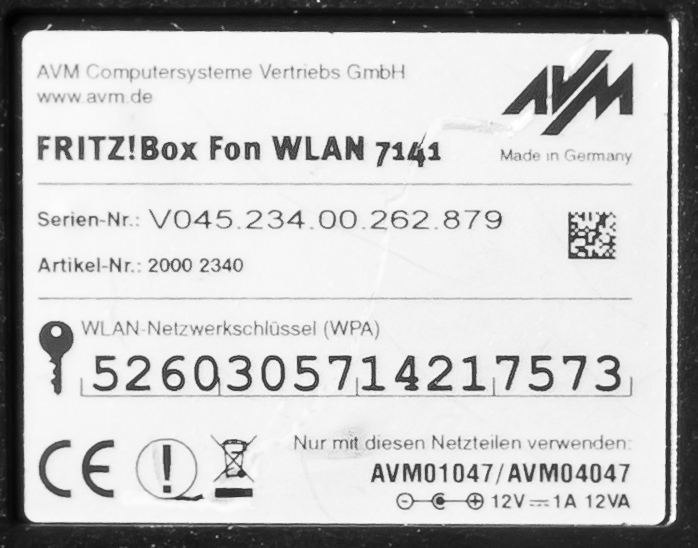 Fritz!Box Fon WLAN 7141 - Typenschild