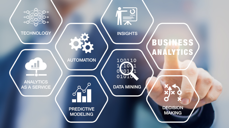 Business Analytics technology concept, icons, businessman, data mining, predictive modeling